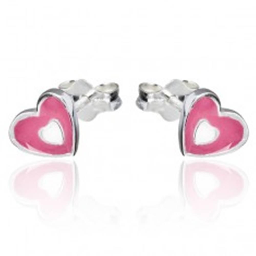 Šperky eshop Náušnice zo striebra 925 - ružovo-biele srdce, puzetky