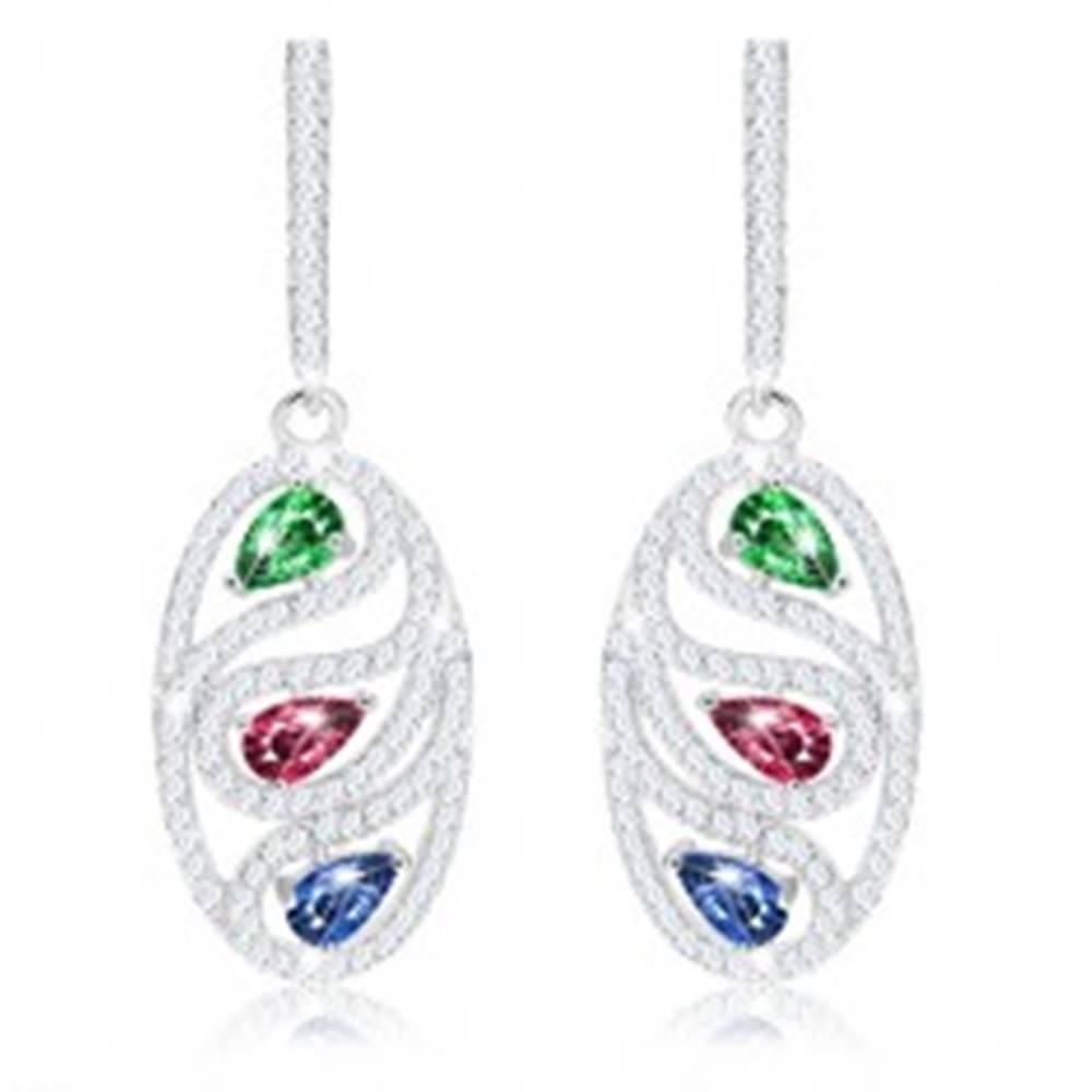 Šperky eshop Náušnice zo striebra 925, zirkónová oválna kontúra, farebné kvapky
