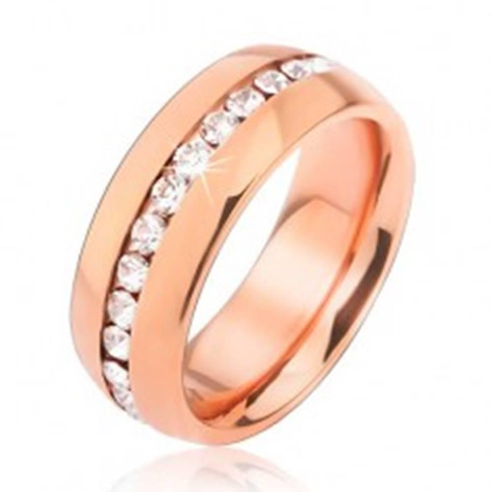 Šperky eshop Obrúčka z chirurgickej ocele ružovozlatej farby, pás čírych zirkónov - Veľkosť: 49 mm