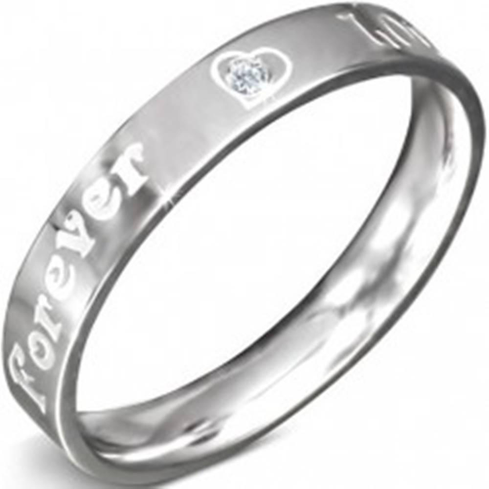 Šperky eshop Obrúčka z nerezovej ocele - nápis FOREVER LOVE a zirkón, 3 mm - Veľkosť: 49 mm