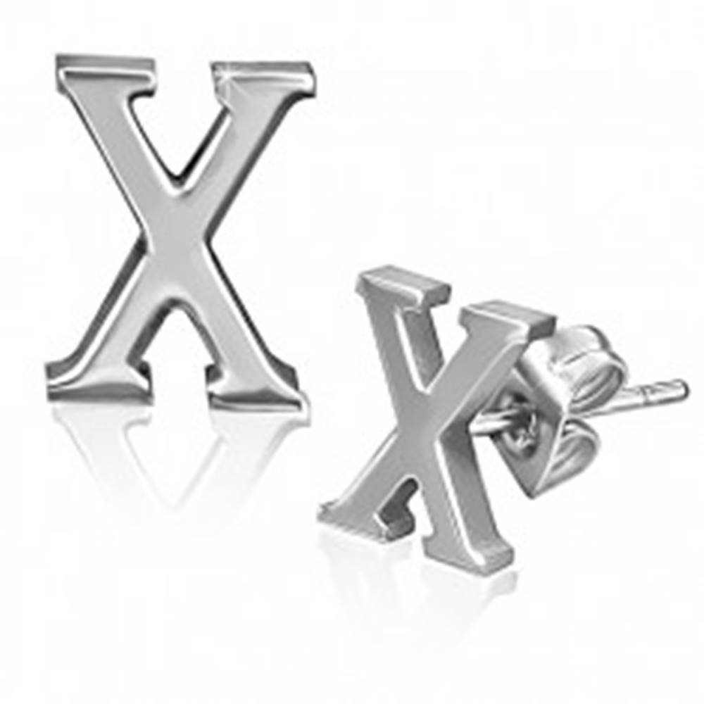 Šperky eshop Oceľové náušnice - hladký tvar písmena X