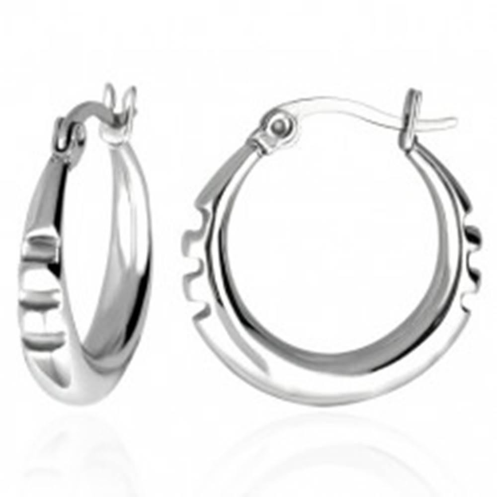 Šperky eshop Oceľové náušnice - kruhy s troma zárezmi po stranách