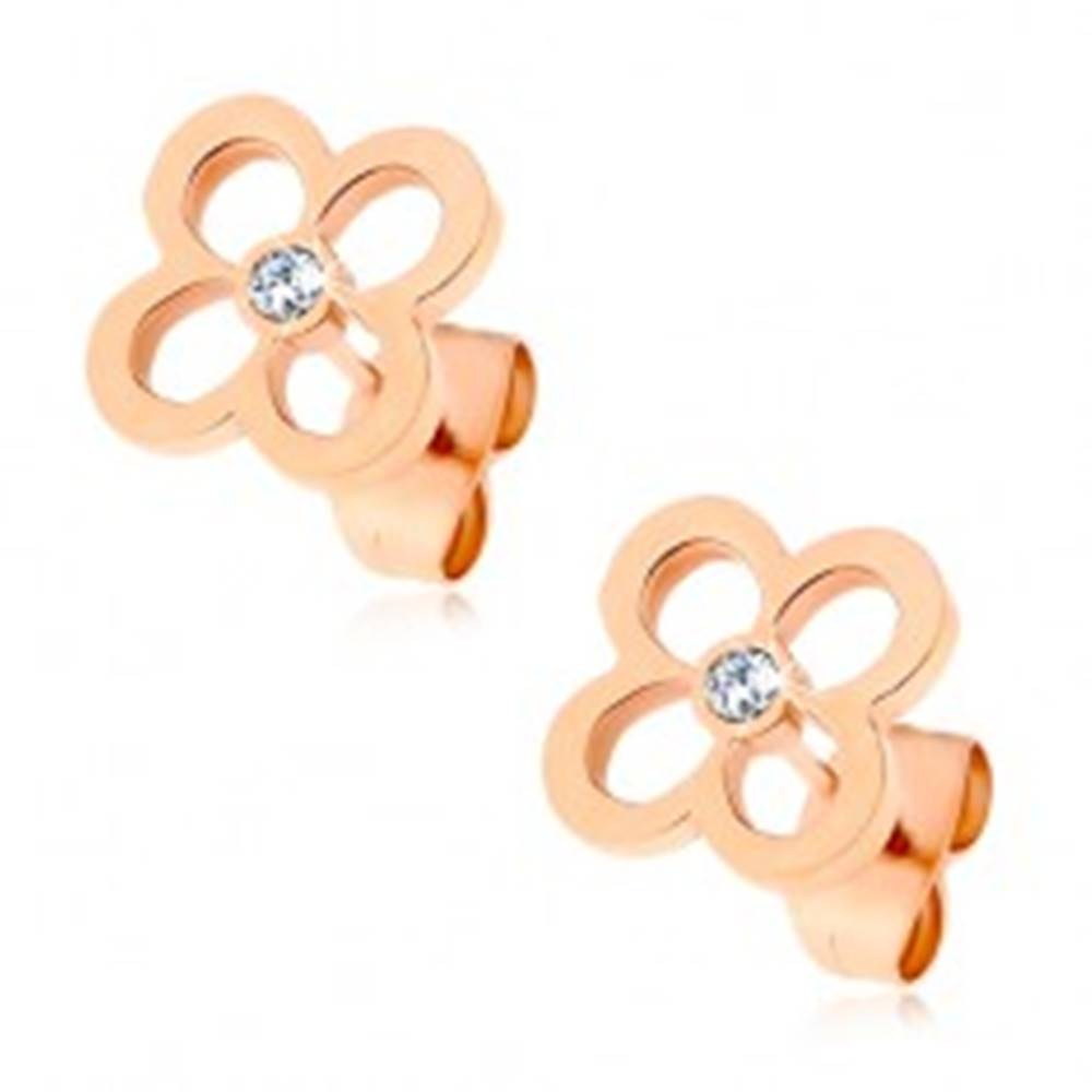 Šperky eshop Oceľové náušnice - obrys kvetu medenej farby so zirkónikom v strede