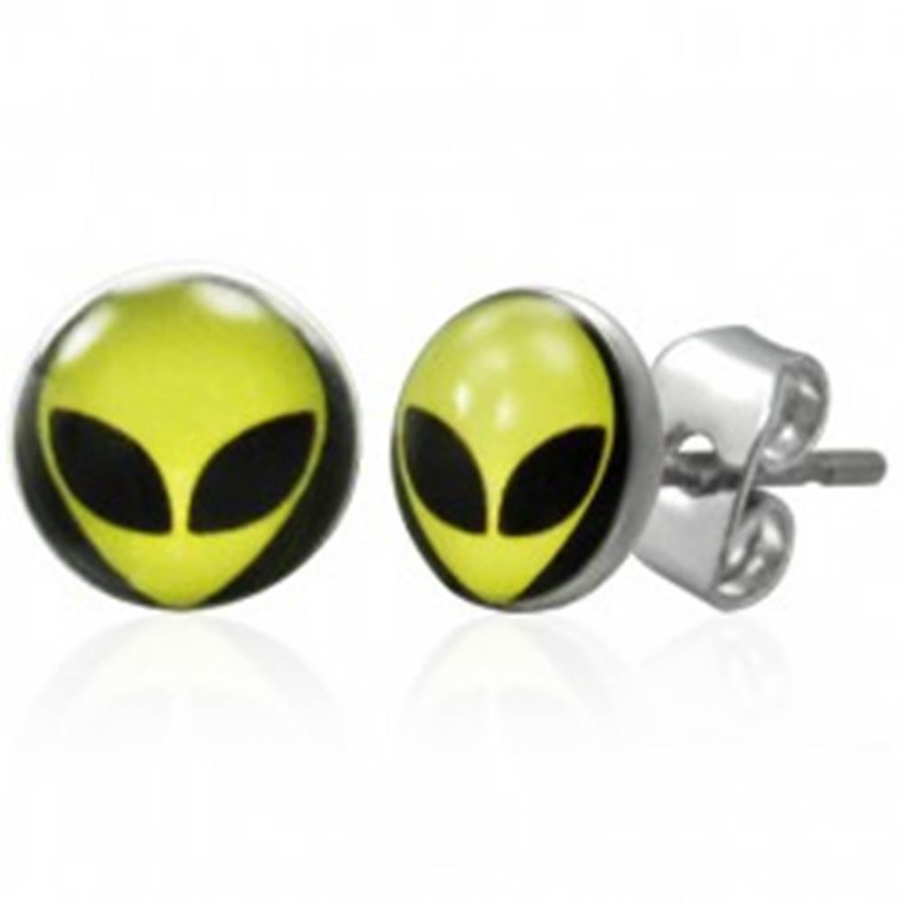Šperky eshop Oceľové náušnice s potlačou hlavy mimozemšťana