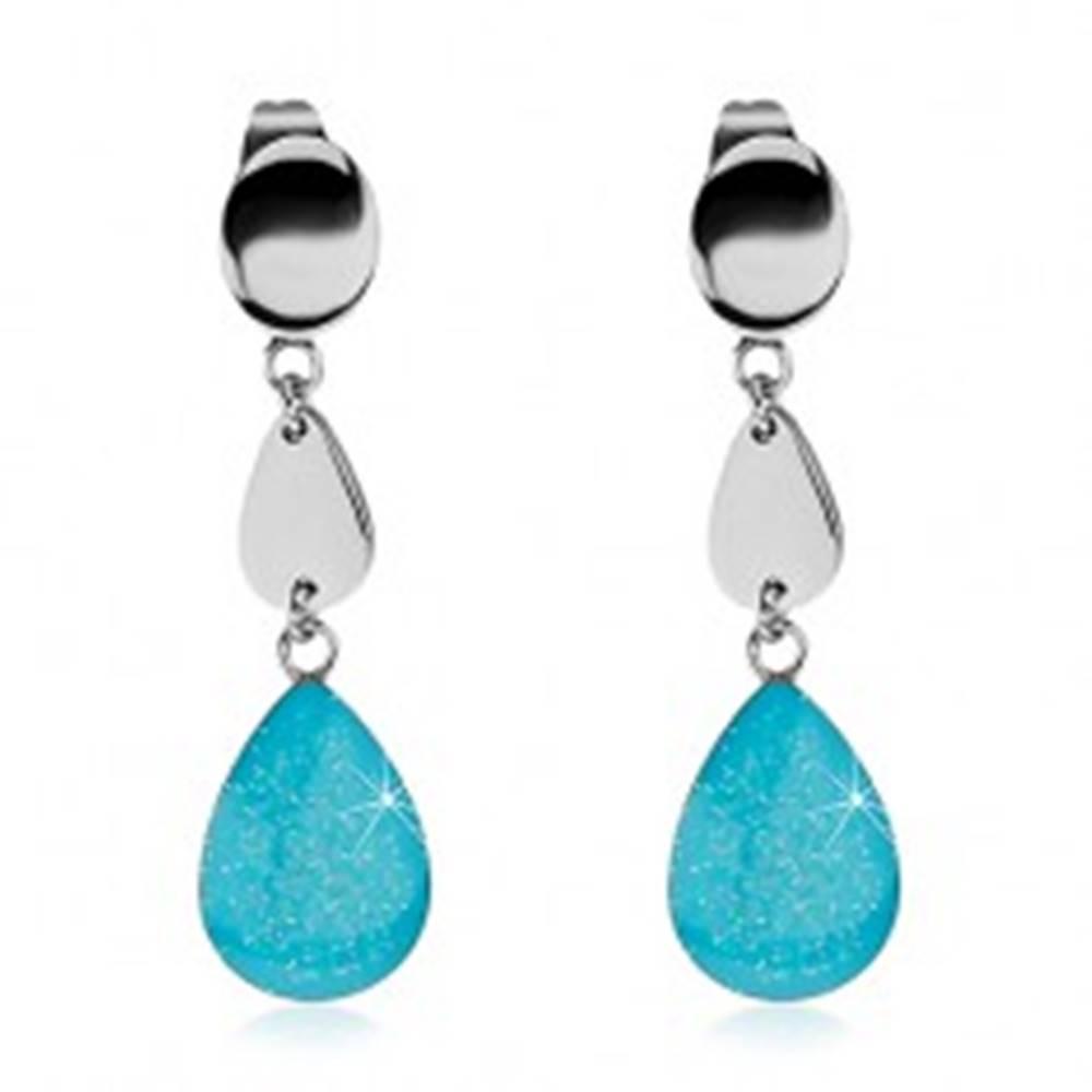 Šperky eshop Oceľové náušnice so slzičkami, trblietavá modrá glazúra, puzetky