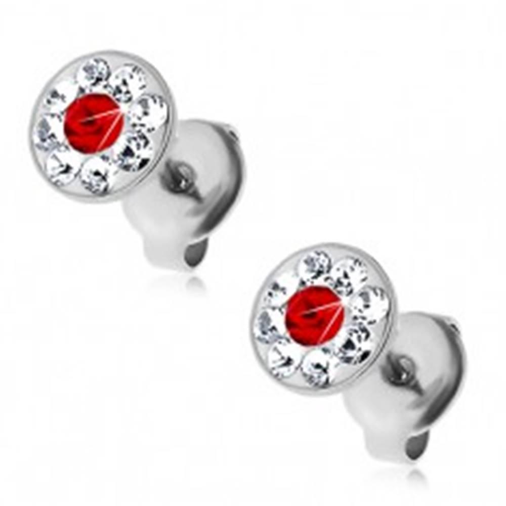 Šperky eshop Oceľové náušnice zdobené krištálikmi Swarovski čírej a červenej farby