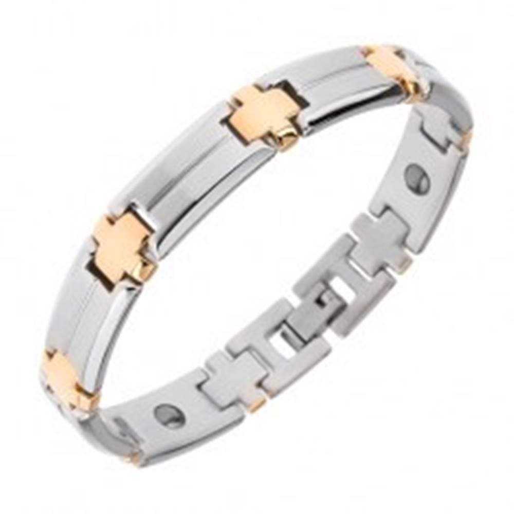 Šperky eshop Oceľový náramok, matné obdĺžnikové články, lesklé kríže zlatej farby, magnety