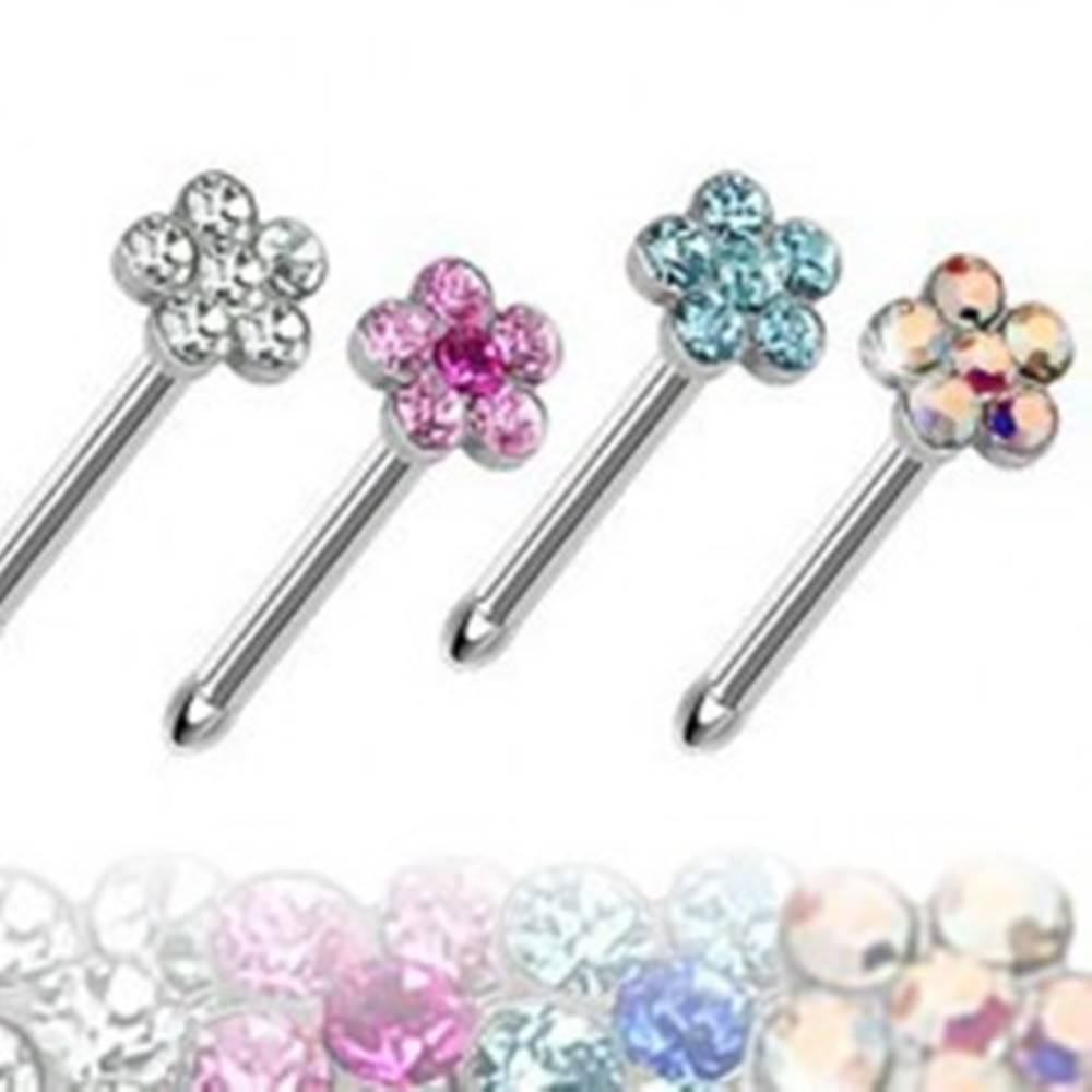Šperky eshop Oceľový piercing do nosa, rovný, farebný kvietok zo zirkónov - Farba zirkónu: Aqua modrá - Q