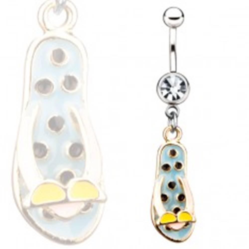 Šperky eshop Oceľový piercing do pupku - modré žabky s okuliarmi