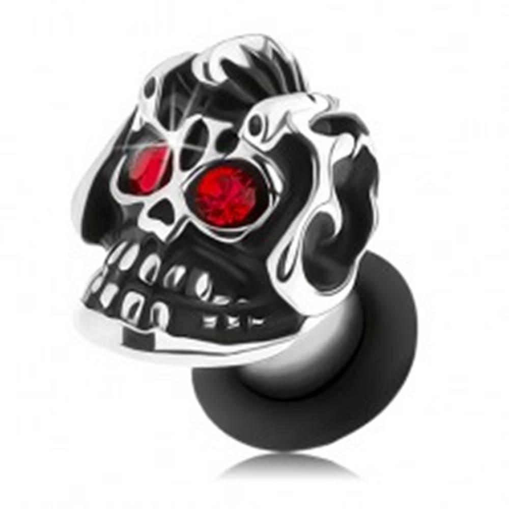 Šperky eshop Oceľový plug do ucha, strieborný odtieň, lebka s helmou, patina, červené zirkóny - Hrúbka: 3 mm