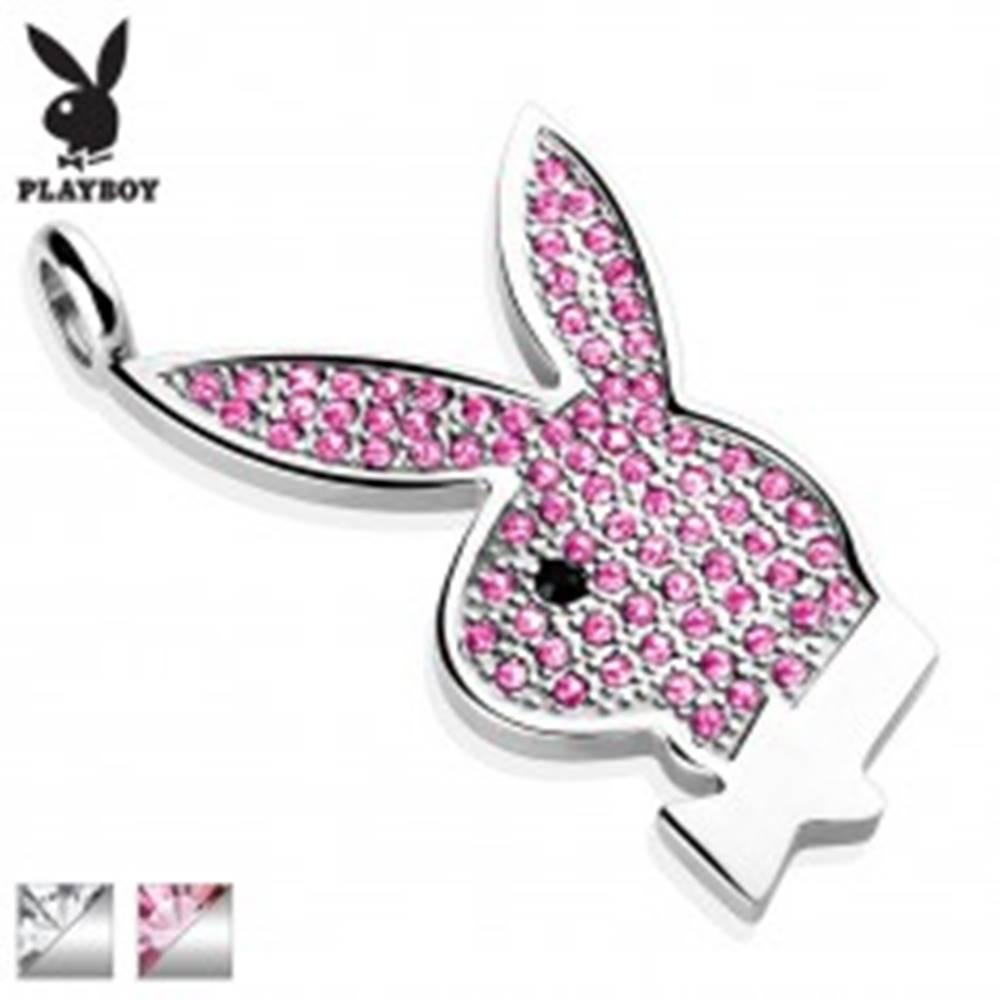 Šperky eshop Oceľový prívesok Playboy, strieborná farba, zajačik vykladaný zirkónmi - Farba: Číra - čierna