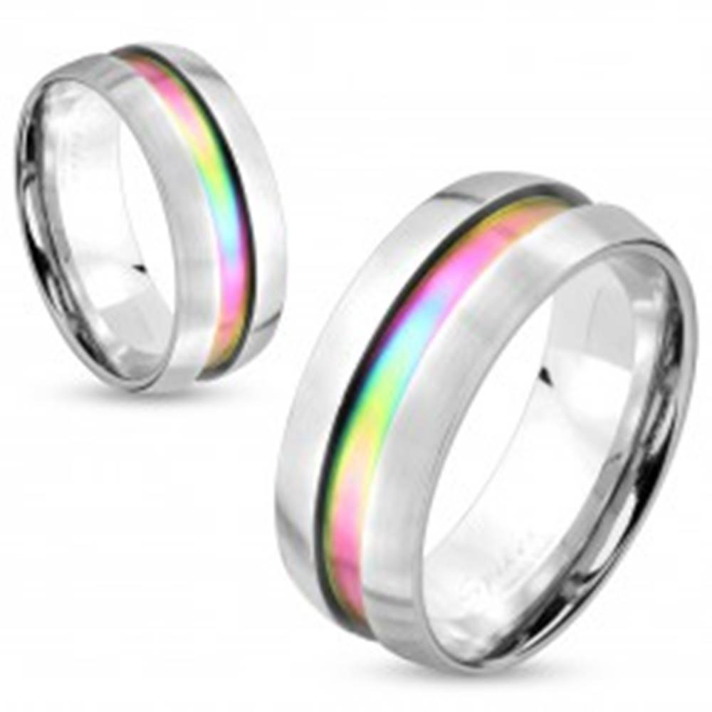 Šperky eshop Oceľový prsteň striebornej farby, dúhový prúžok, vyvýšené okraje, 8 mm - Veľkosť: 60 mm