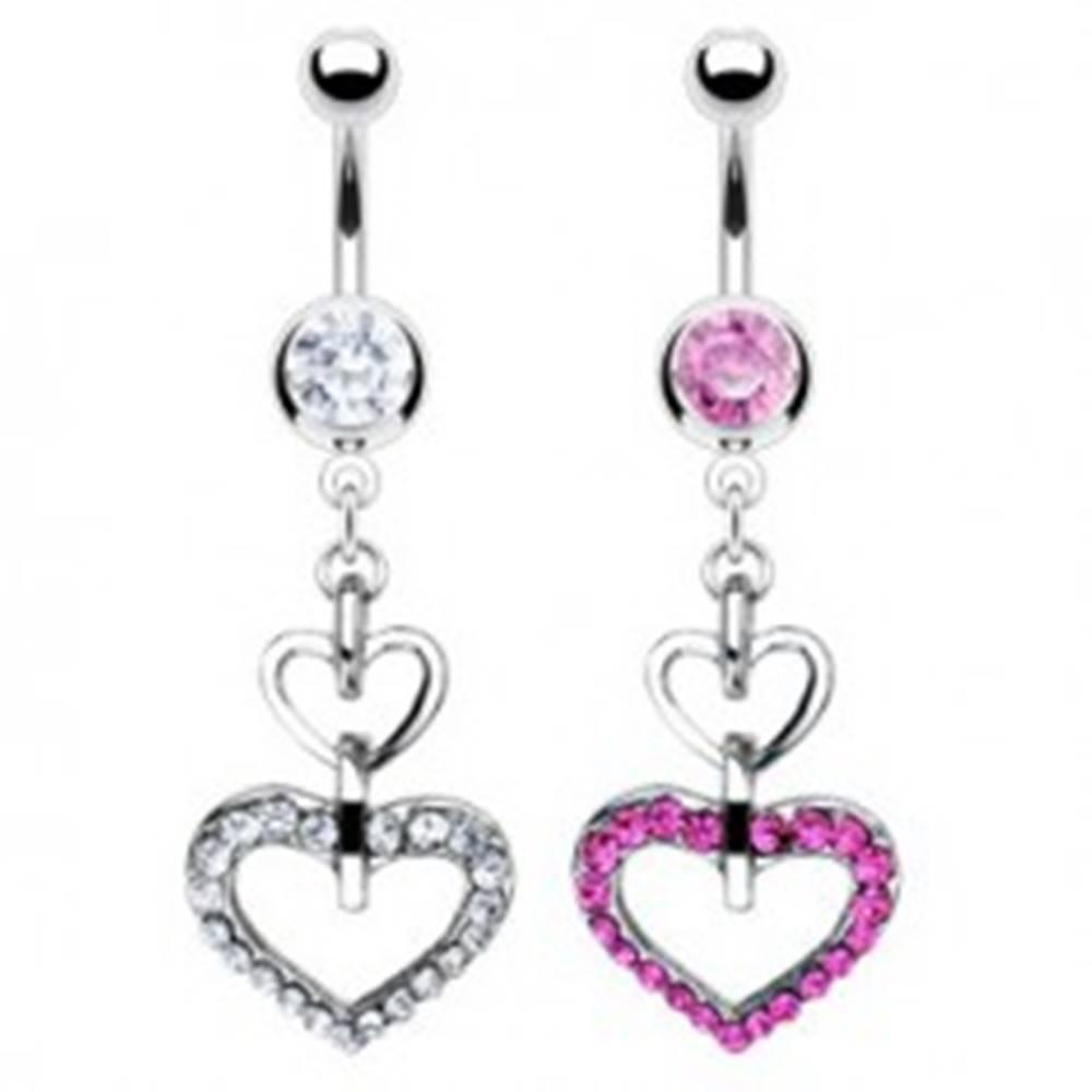 Šperky eshop Piercing belly ring dvojité srdce, hladké a so zirkónmi - Farba zirkónu: Číra - C