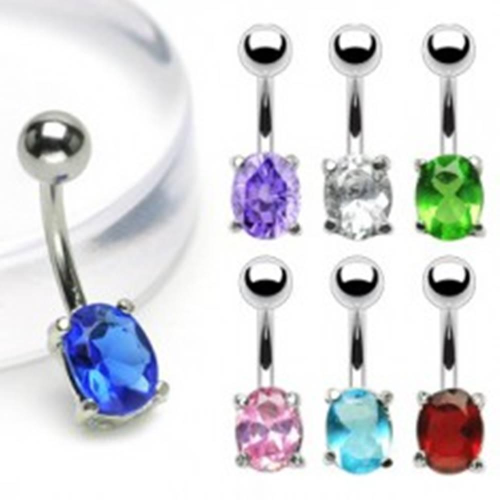 Šperky eshop Piercing do brucha banán s oválnym zirkónom - Farba zirkónu: Aqua modrá - Q