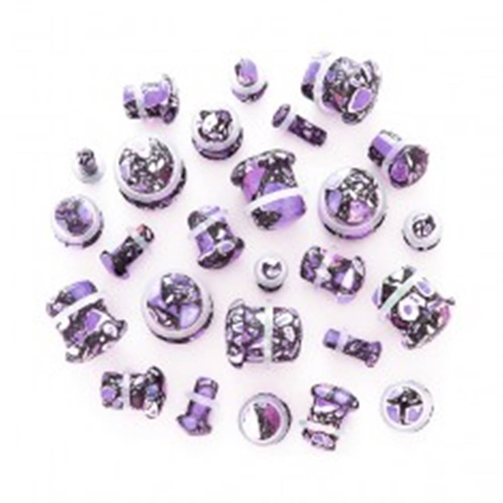 Šperky eshop Plug do ucha z achátu - fľakatá fialová hubka - Hrúbka: 10 mm