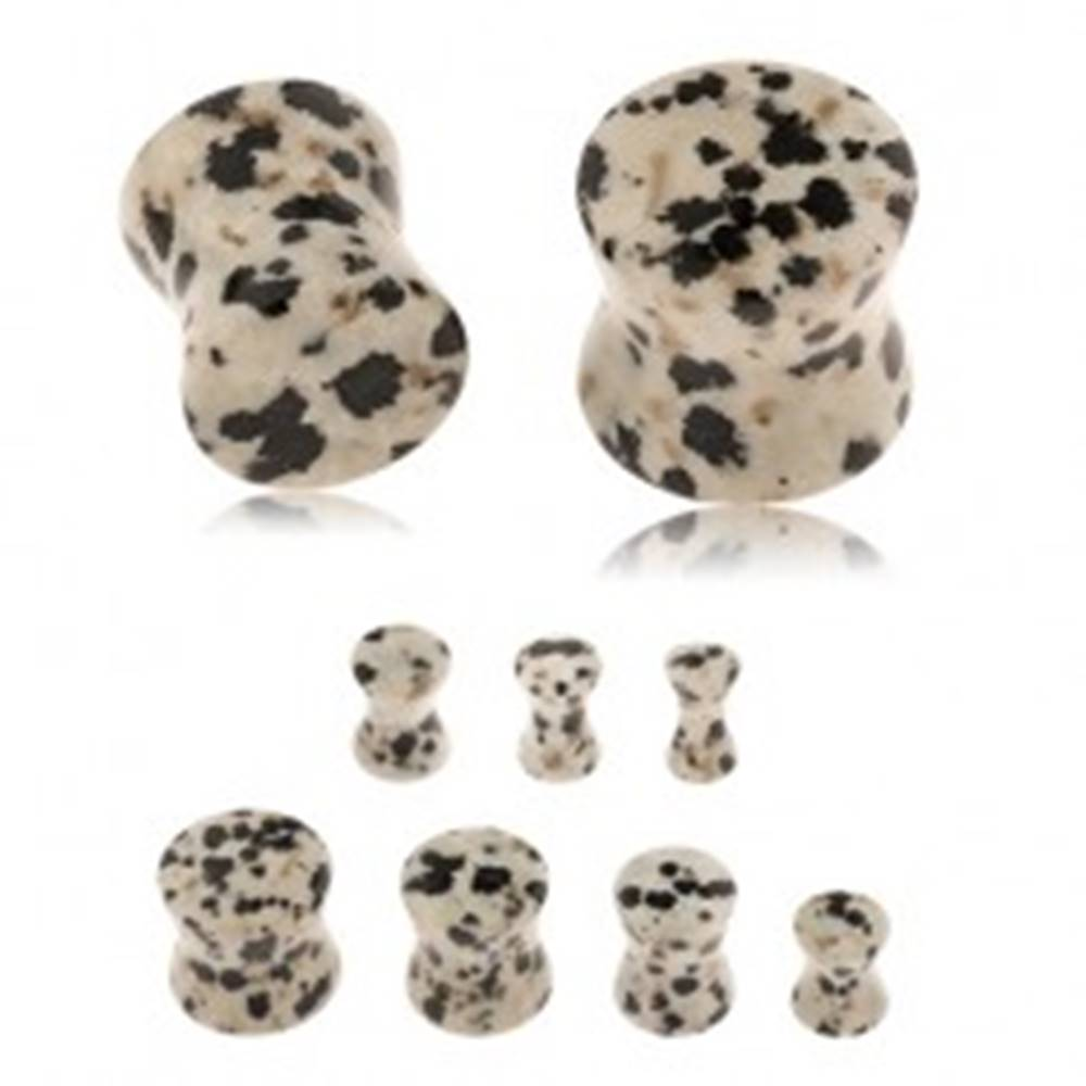 Šperky eshop Plug do ucha z jaspisu dalmatínskeho, sivohnedý odtieň, čierne a hnedé škvrny - Hrúbka: 10 mm