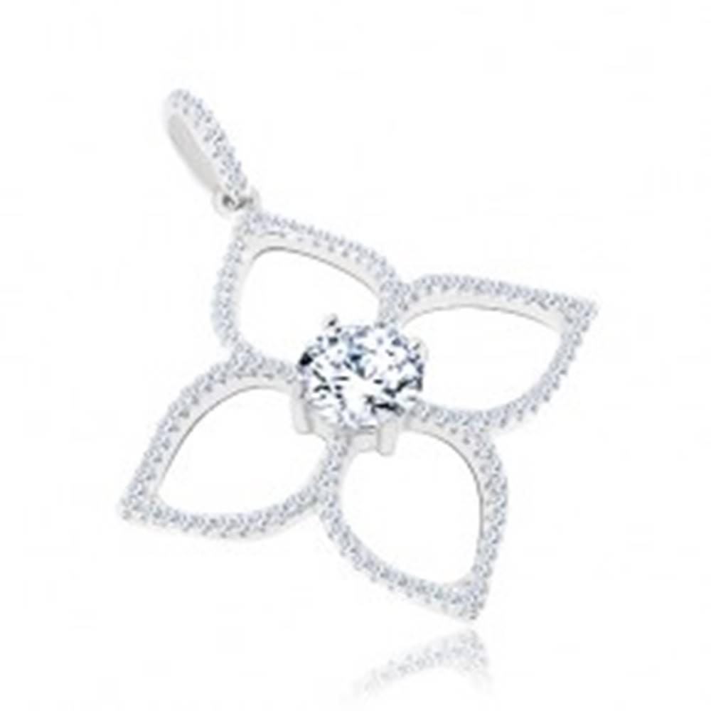 Šperky eshop Prívesok zo striebra 925, kvet - okrúhly číry zirkón, štyri lupienky - kontúry