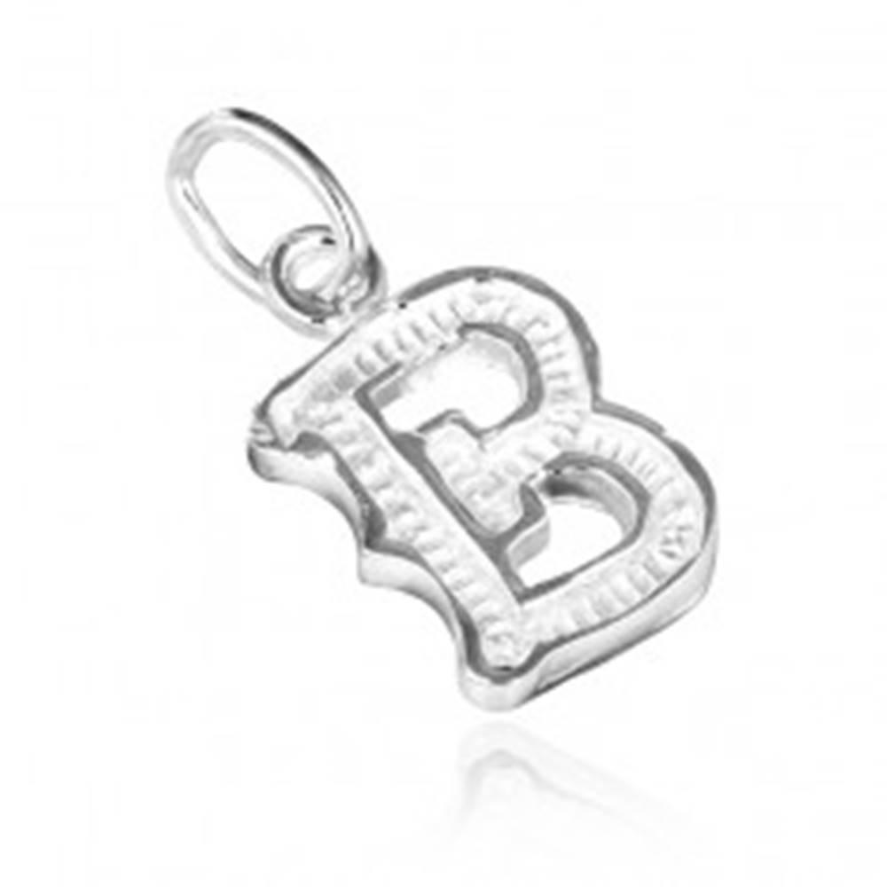 Šperky eshop Prívesok zo striebra 925 - písmeno B s vrúbkami