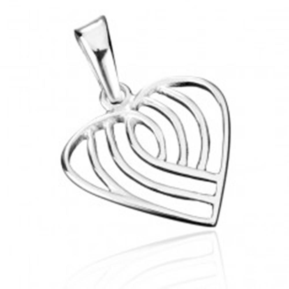 Šperky eshop Prívesok zo striebra 925 - pruhované srdce