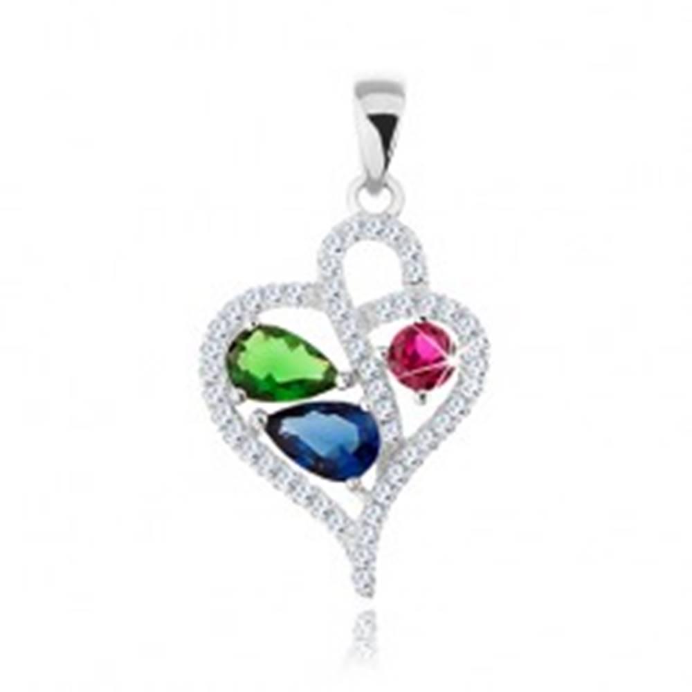 Šperky eshop Prívesok zo striebra 925, zirkónová kontúra asymetrického srdca, farebné zirkóny