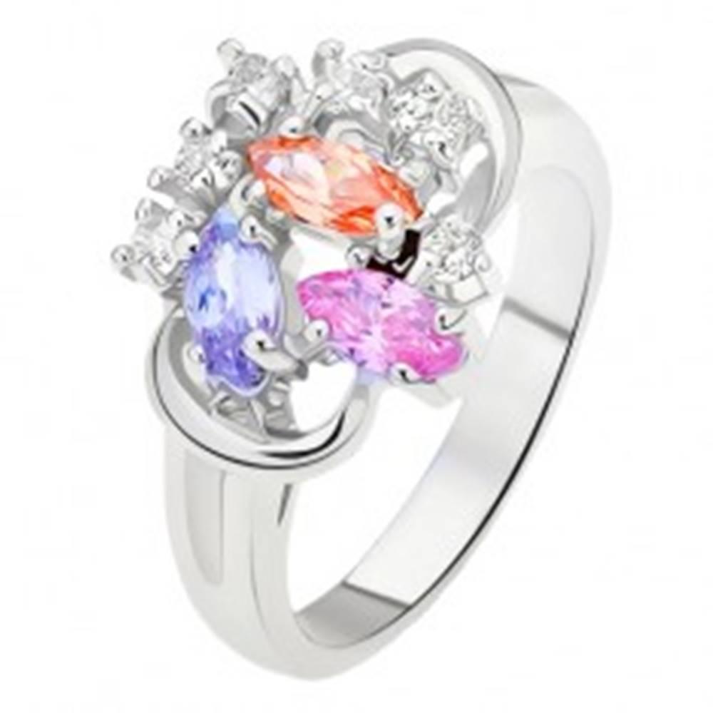 Šperky eshop Prsteň - rozdelené ramená, farebné zrnkové zirkóny, číre kamienky - Veľkosť: 49 mm