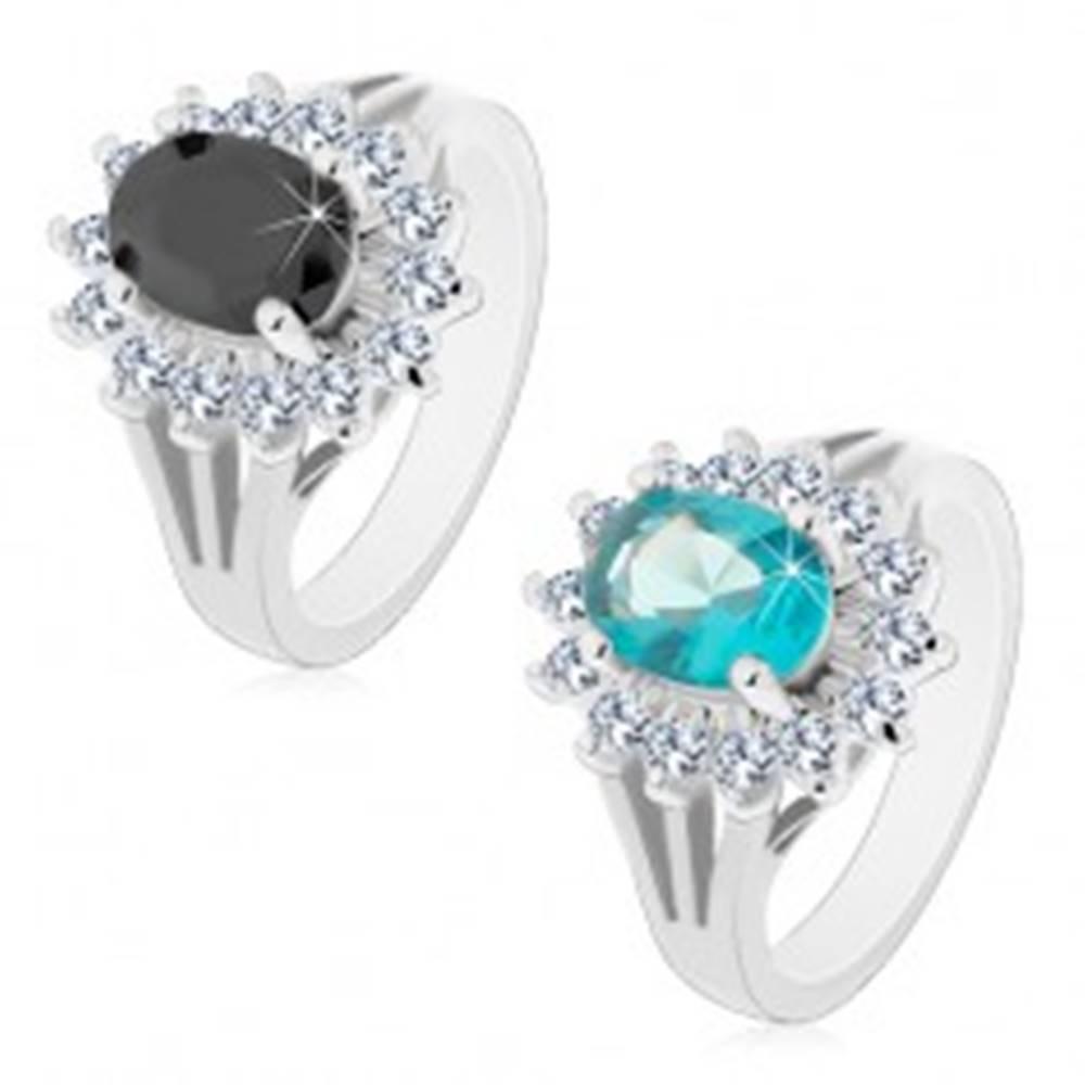Šperky eshop Prsteň s rozdelenými ramenami, farebný zirkónový ovál s čírou obrubou - Veľkosť: 49 mm, Farba: Svetlomodrá