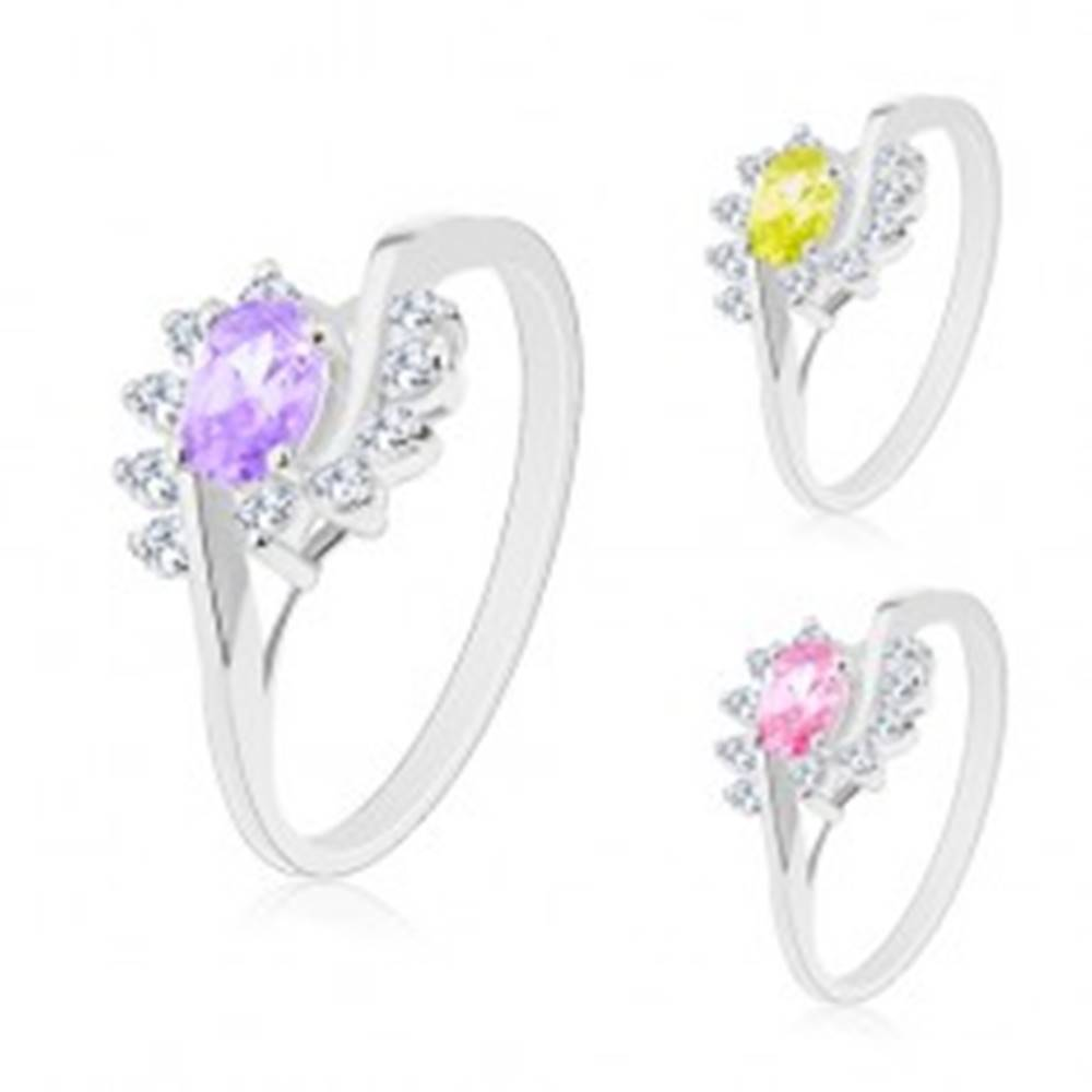 Šperky eshop Prsteň s rozdelenými ramenami, oblúčiky z čírych zirkónov, farebný zirkónový ovál - Veľkosť: 49 mm, Farba: Ružová