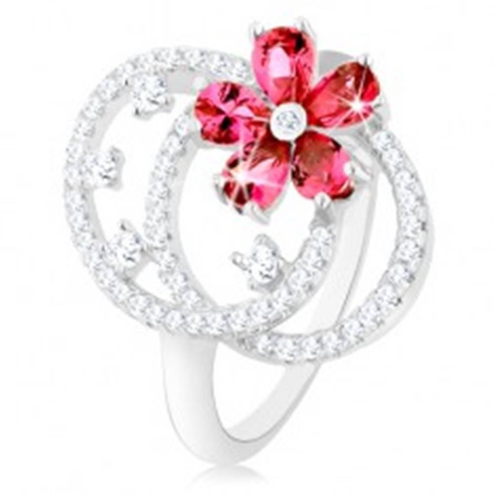 Šperky eshop Prsteň, striebro 925, číre zirkónové kontúry dvoch oválov, ružový kvietok - Veľkosť: 49 mm