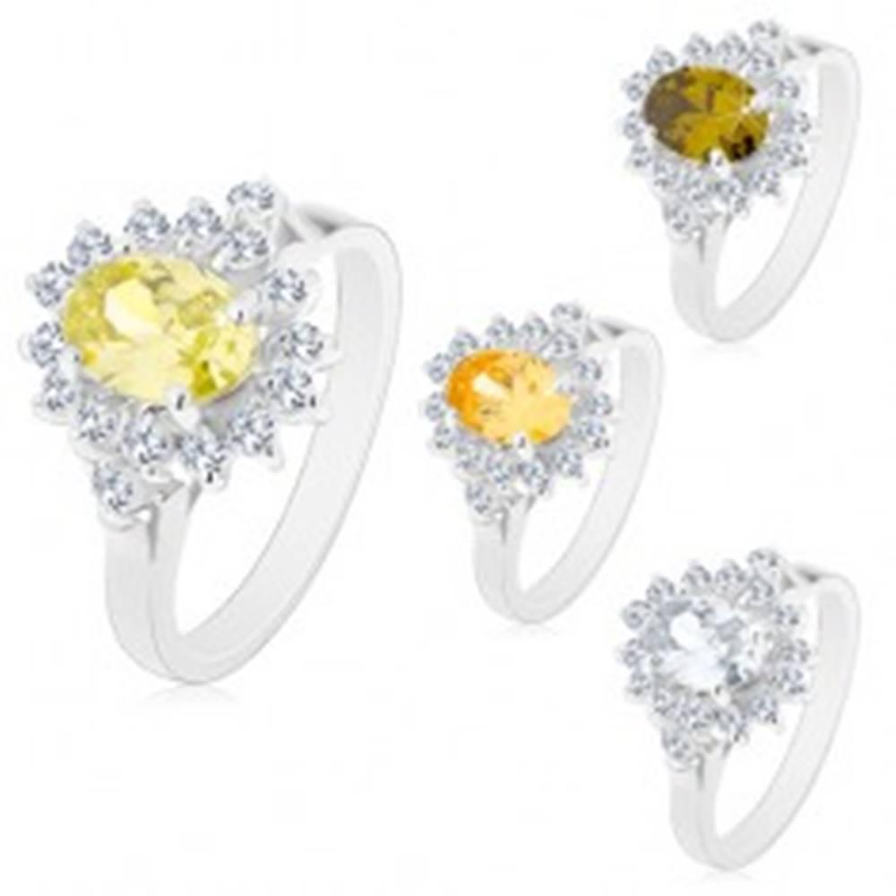 Šperky eshop Prsteň v striebornom odtieni, veľký farebný ovál s čírym lemom - Veľkosť: 49 mm, Farba: Zelená