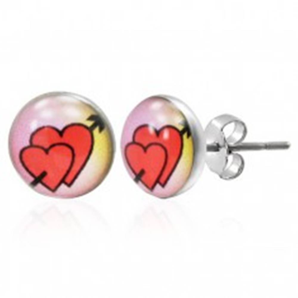 Šperky eshop Puzetové náušnice z ocele 316L- zaľúbené srdcia so šípom