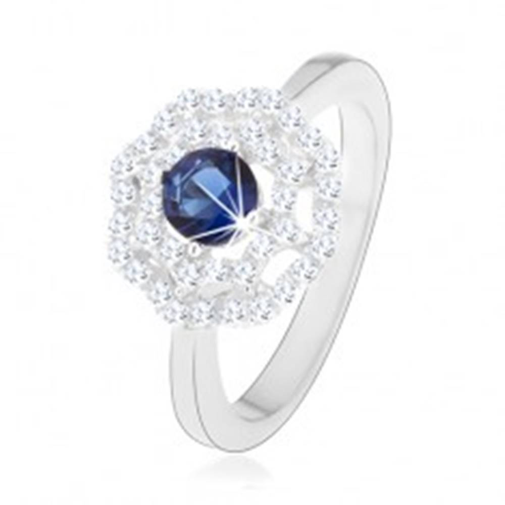 Šperky eshop Ródiovaný strieborný prsteň 925, slnko - modrý okrúhly zirkón, dvojitý číry lem - Veľkosť: 49 mm