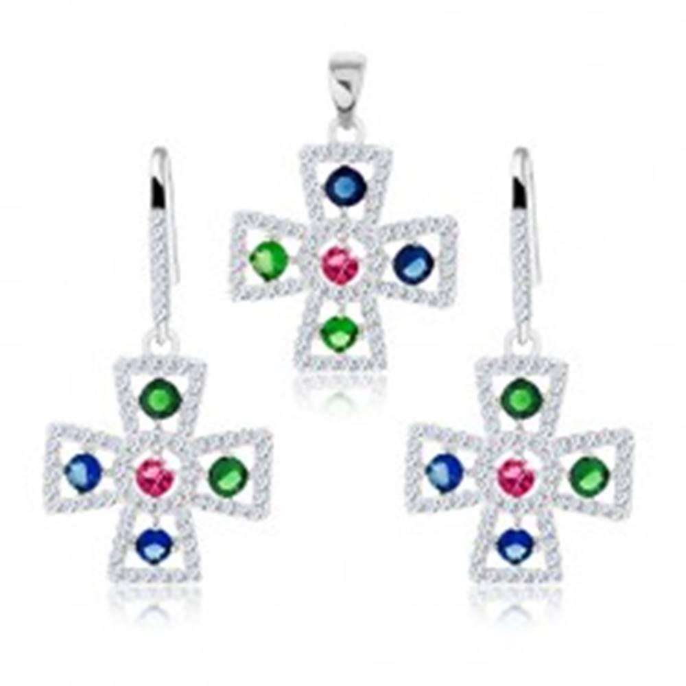 Šperky eshop Sada zo striebra 925, náušnice a prívesok, maltézsky kríž, číre a farebné zirkóny