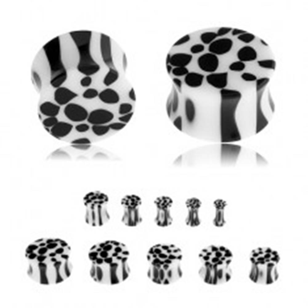 Šperky eshop Sedlový plug do ucha z akrylu, čierno-biely leopardí vzor - Hrúbka: 10 mm