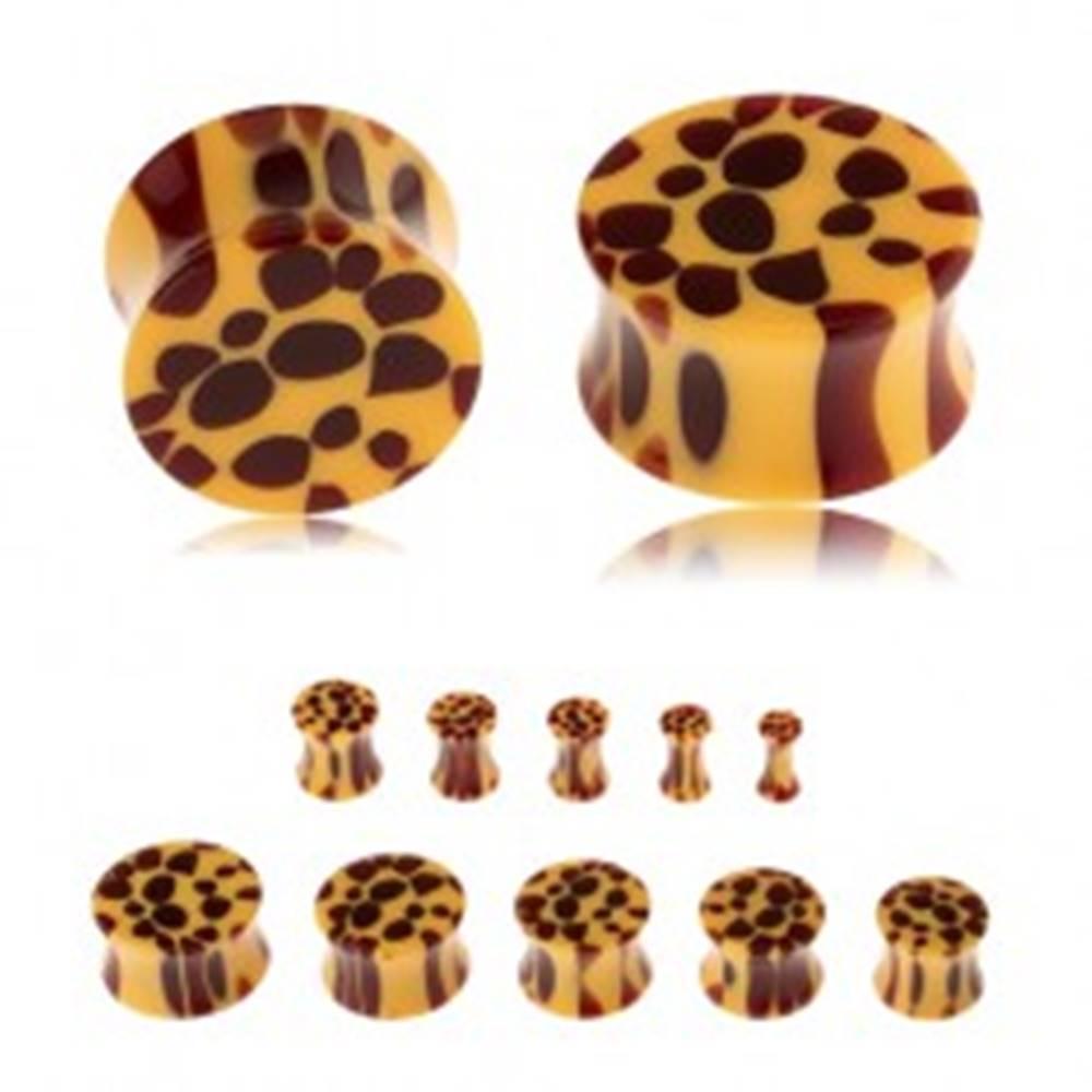 Šperky eshop Sedlový plug do ucha z akrylu, žltá farba, hnedé škvrny - leopardí vzor - Hrúbka: 10 mm