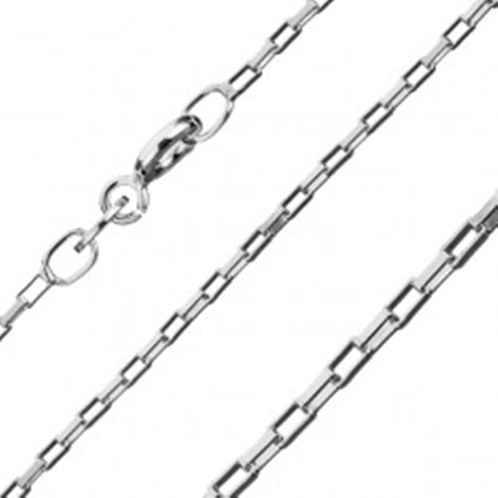 Šperky eshop Strieborná retiazka 925 - lesklé tehličkové články, kolmo spojené, 1,3 mm