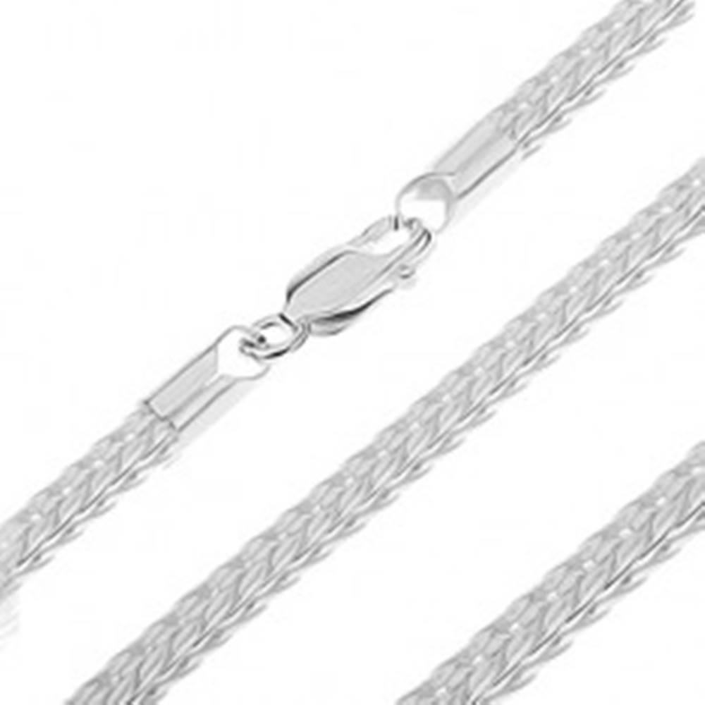 Šperky eshop Strieborná retiazka 925 - V očká spojené do štvorhranného hadíka, 3,5 mm