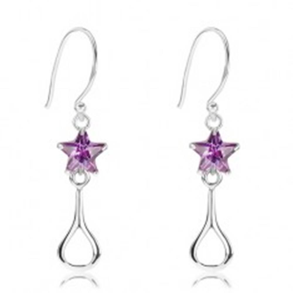 Šperky eshop Strieborné 925 náušnice, ligotavá fialová hviezda, lesklý obrys slzy
