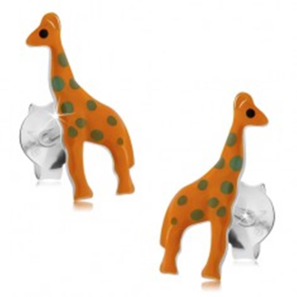 Šperky eshop Strieborné 925 náušnice, oranžová žirafa so sivými bodkami, puzetky