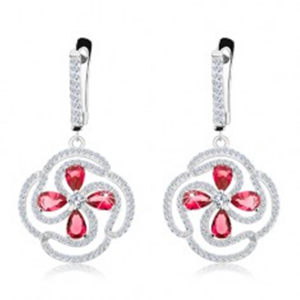 Šperky eshop Strieborné náušnice 925, kvet z ružových zirkónových kvapiek a čírych línií