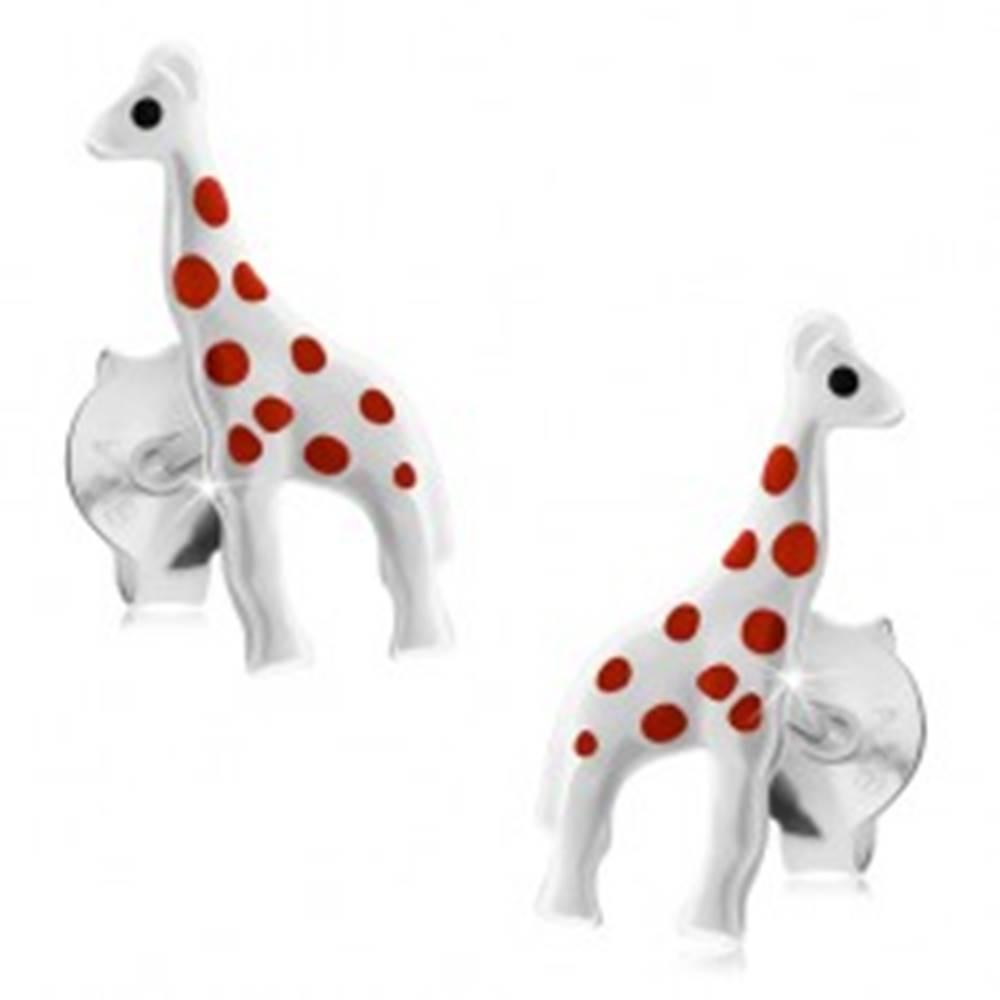 Šperky eshop Strieborné náušnice 925, lesklá biela žirafa s červenými bodkami, puzetky
