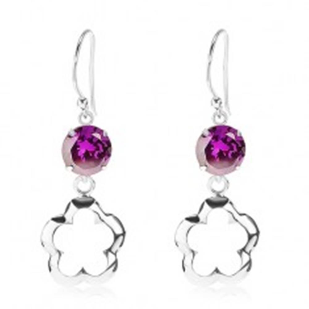 Šperky eshop Strieborné náušnice 925, okrúhly fialový zirkón, obrys kvetu s vysokým leskom