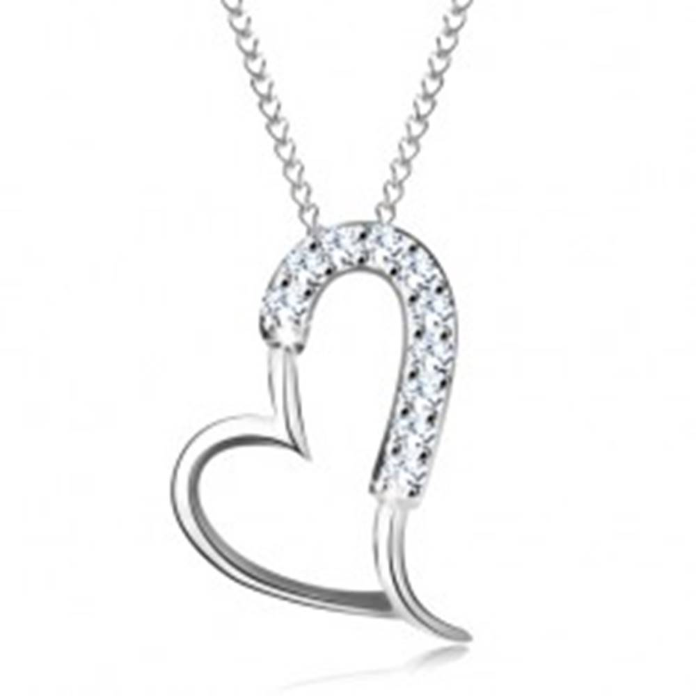 Šperky eshop Strieborný 925 náhrdelník - ligotavá asymetrická kontúra srdca, tenká retiazka