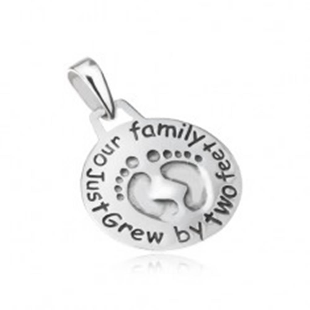 Šperky eshop Strieborný 925 prívesok k narodeniu dieťaťa, odtlačky nôh