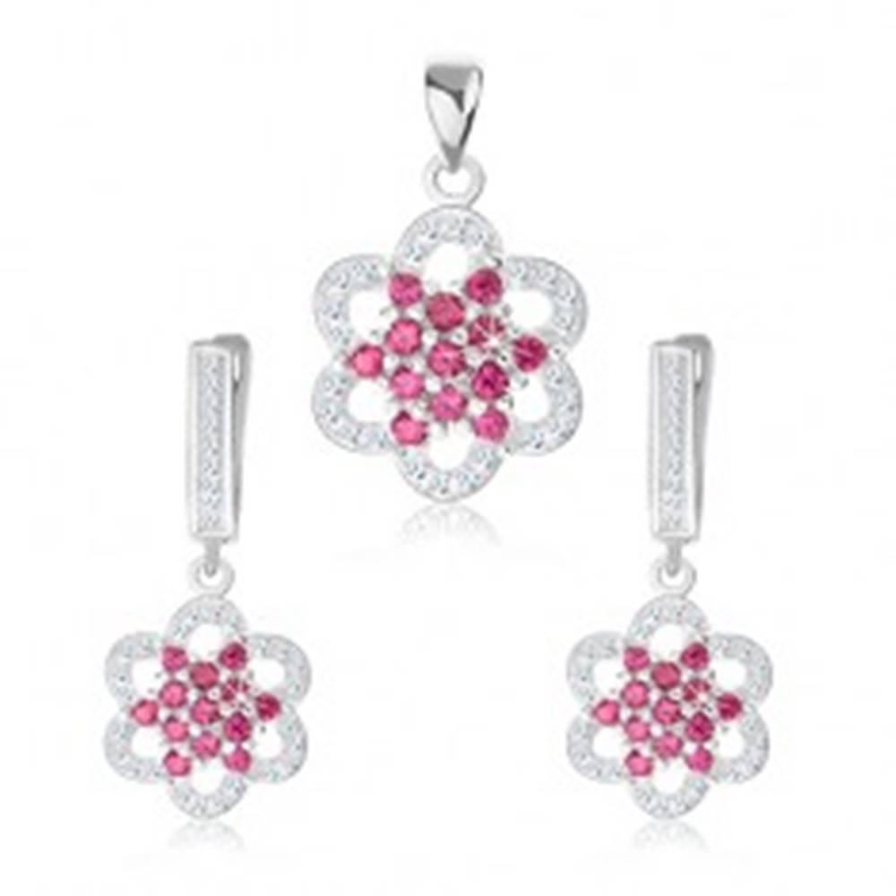 Šperky eshop Strieborný 925 set, prívesok a náušnice, zirkónový kvet, ružová a číra farba