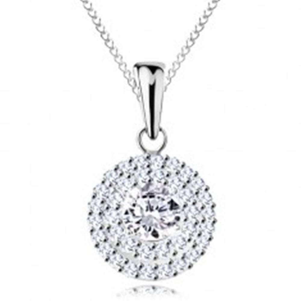 Šperky eshop Strieborný náhrdelník 925 - prívesok a retiazka, okrúhly číry zirkón v dvojitej kontúre
