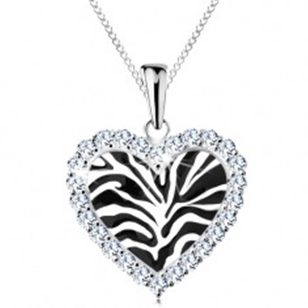 Šperky eshop Strieborný náhrdelník 925, srdiečko s čiernym motívom zebry a čírymi zirkónikmi