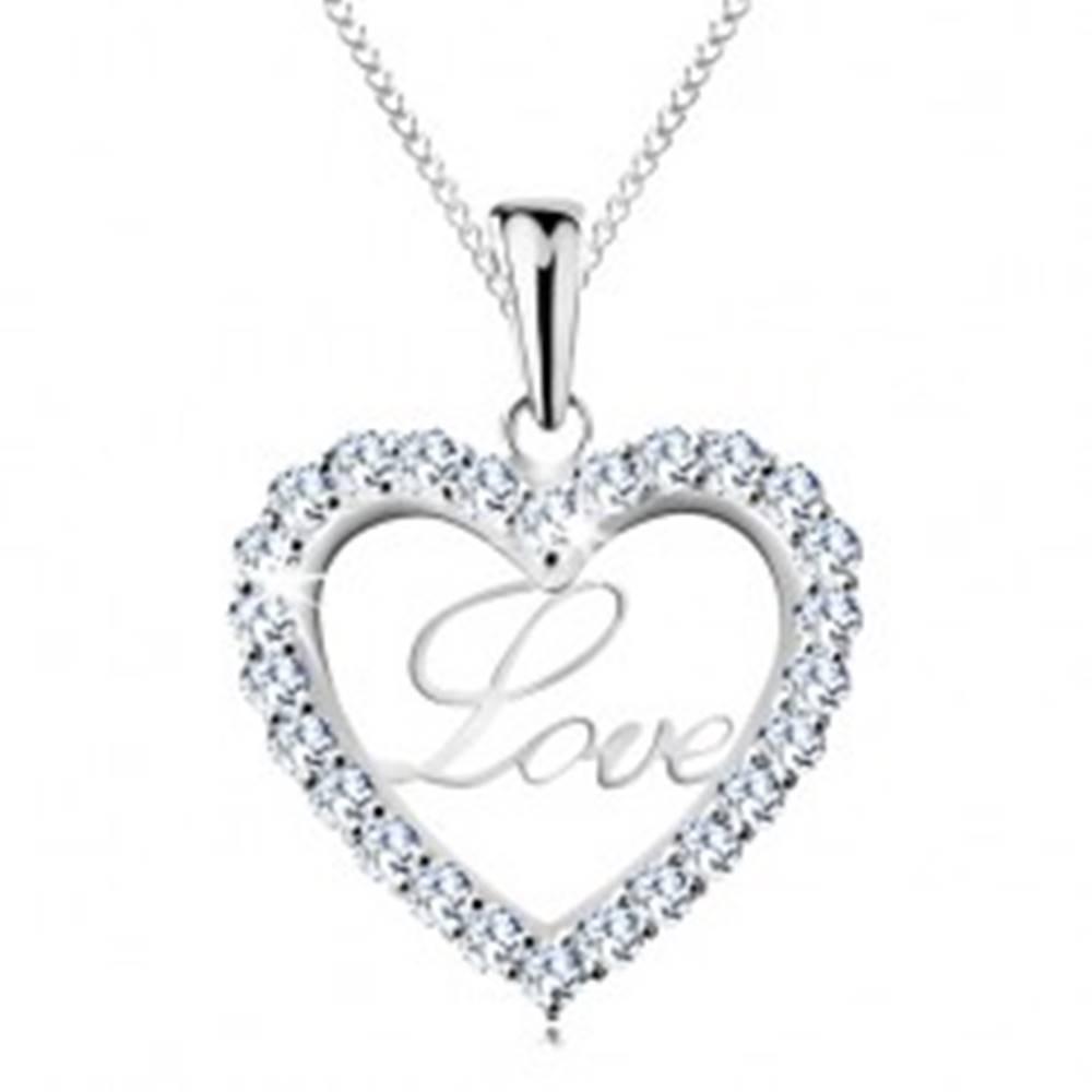 Šperky eshop Strieborný náhrdelník 925, tenká retiazka, trblietavá kontúra srdca, nápis Love