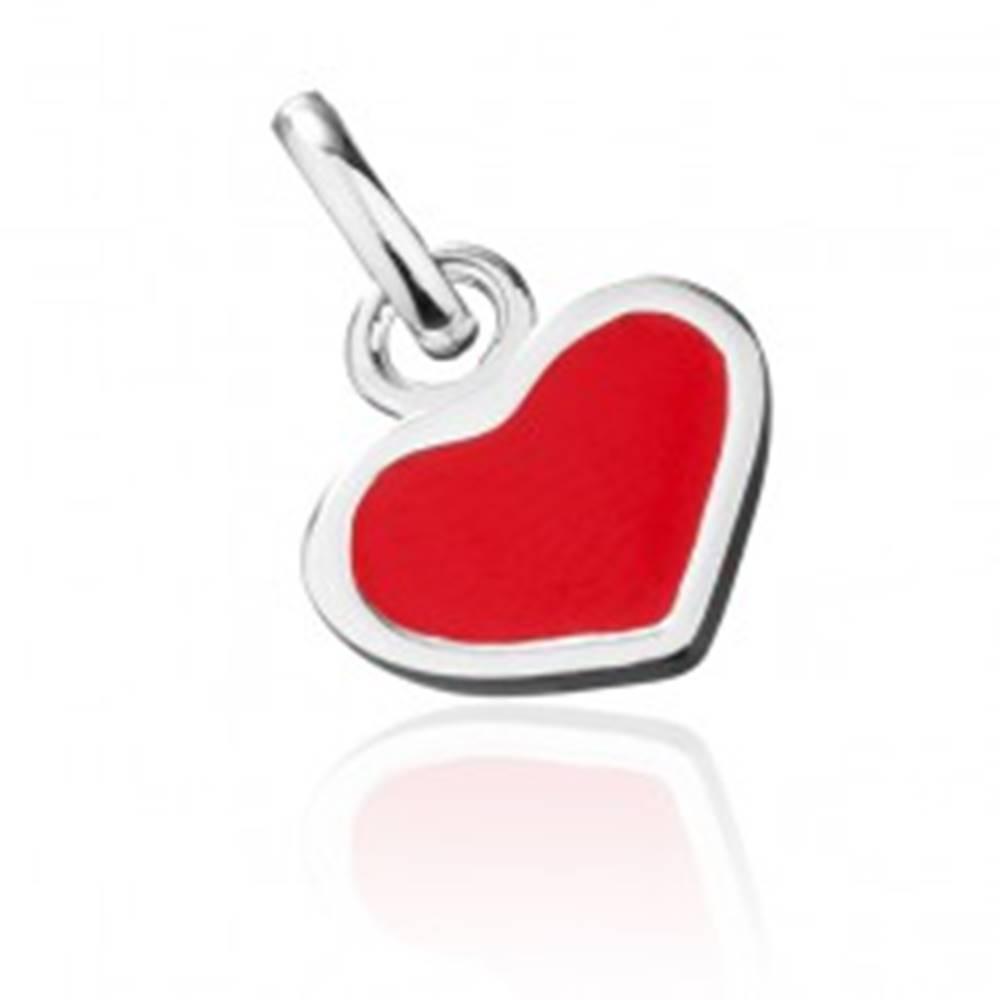 Šperky eshop Strieborný prívesok 925 - červené srdce so strieborným okrajom
