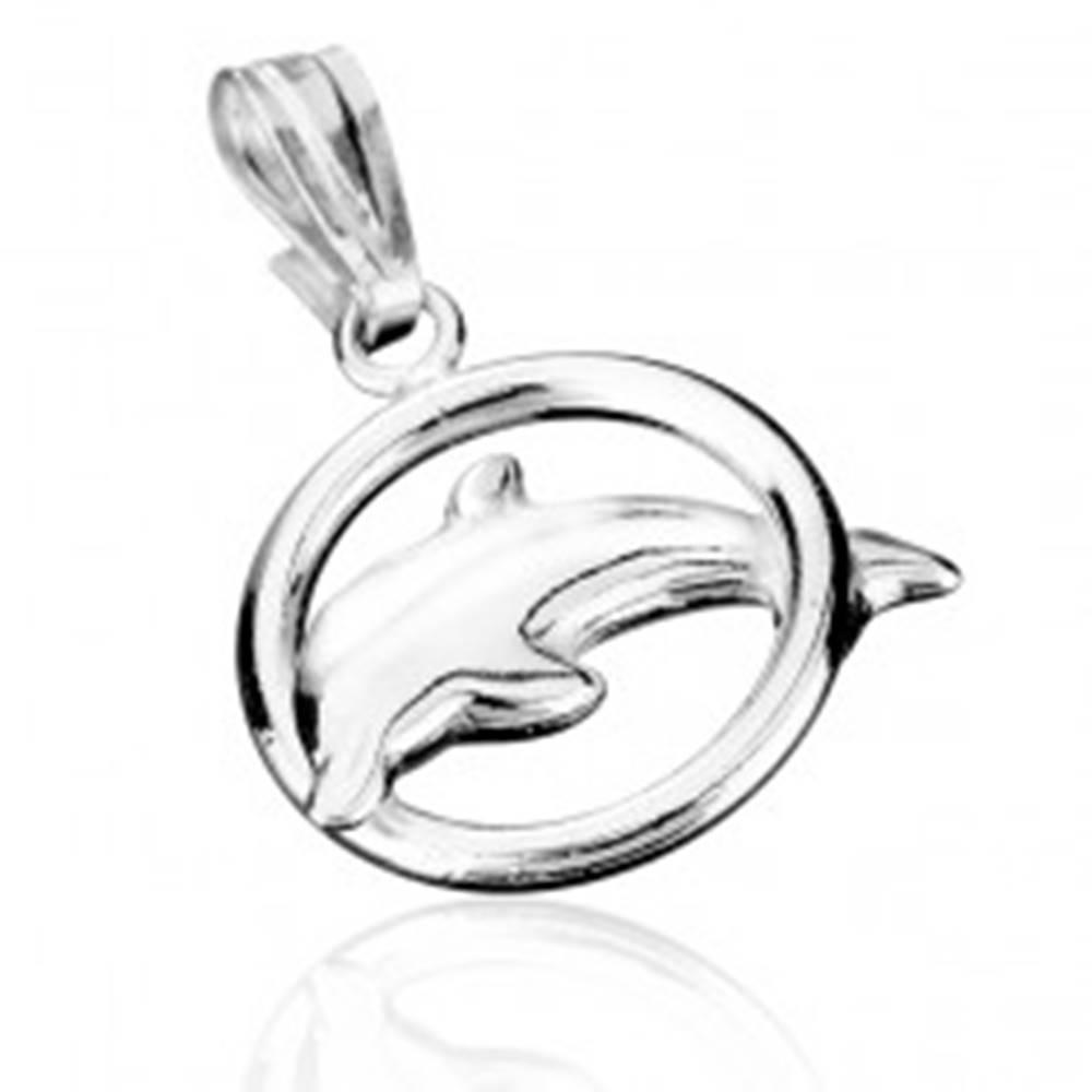 Šperky eshop Strieborný prívesok 925 - delfín skákajúci cez obruč