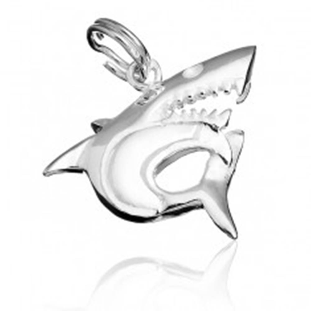 Šperky eshop Strieborný prívesok 925 - dravý žralok